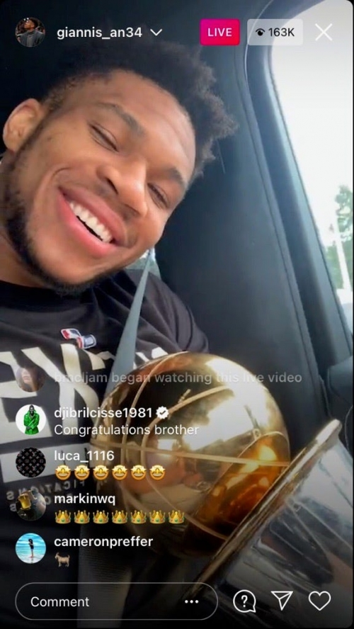 Giannis took his trophies to Chick-Fil-A and ordered exactly 50 chicken nuggets the morning after the Bucks' championship win