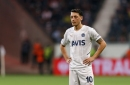 Former Arsenal star Mesut Ozil reacts after scoring first European goal in three years