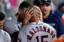 Valdez Shuts Down Angels. Siri, Maldonado Homers, Margo Slam Give Astros Crushing 10-0 Win in Anaheim