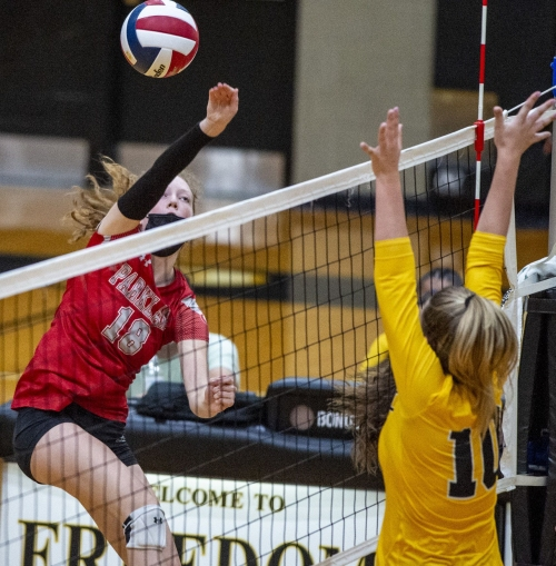 High school girls volleyball: Parkland uses balance to beat Freedom in battle of EPC unbeatens