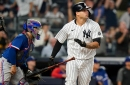 Yankees erupt for four runs in eighth inning to sweep Rangers, regain AL Wild Card spot