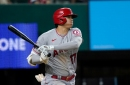 Angels hitters go quietly in loss to Rangers to start season-ending trip