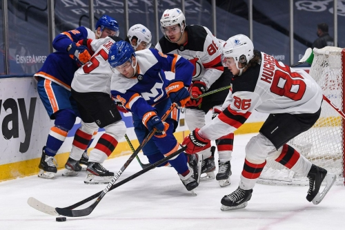 Devils top Islanders 2-1 in OT as Jack Hughes departs early