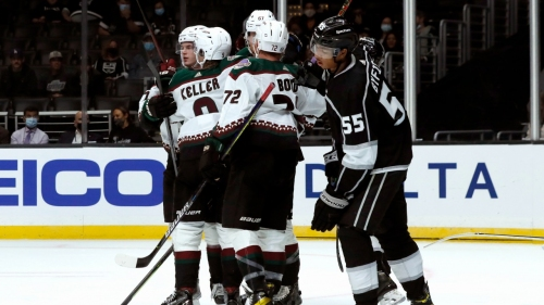 Kings centre Quinton Byfield helped off ice in pre-season game