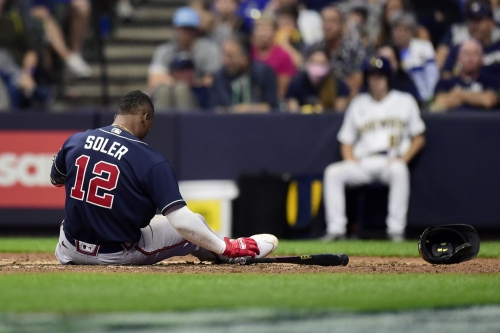 Jorge Soler tests positive for COVID-19, out of lineup for Brewers-Braves Game 4