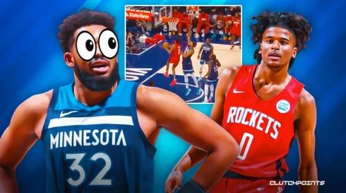 WATCH: Rockets' Jalen Green schools Karl-Anthony Towns for first NBA bucket