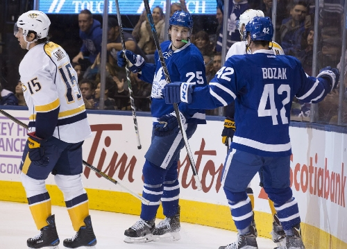James van Riemsdyk notches second career hat trick as Toronto Maple Leafs roll past Nashville Predators 6-2