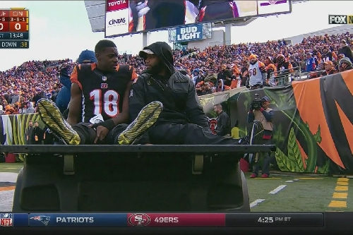 A.J. Green carted off with an injury in the first quarter of Bills vs. Bengals