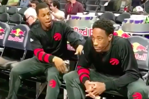 DeMar DeRozan is not impressed by Kyle Lowry's pregame dance