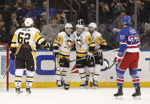 Sidney Crosby, Penguins pull away from Rangers in 6-1 rout