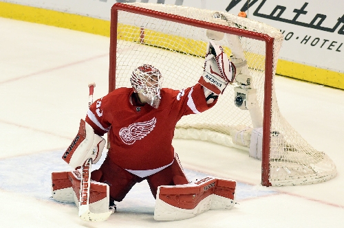 Red Wings' Jimmy Howard leaves game with lower-body injury