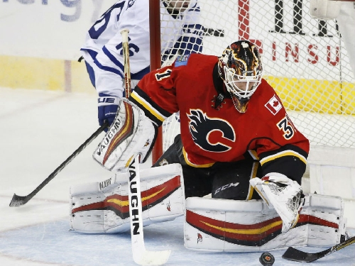 Chad Johnson stops 39 shots as Calgary Flames shut out Toronto Maple Leafs 3-0