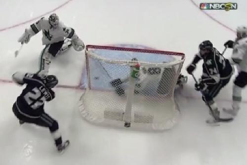 Sharks' defenseman has a secondary career as a goaltender after making a stick save