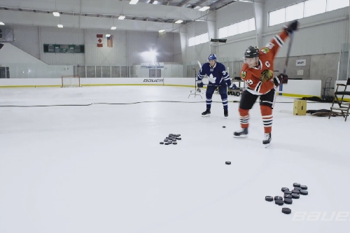 WATCH: Jonathan Toews convinces Auston Matthews to shoot the puck around and destroy stuff