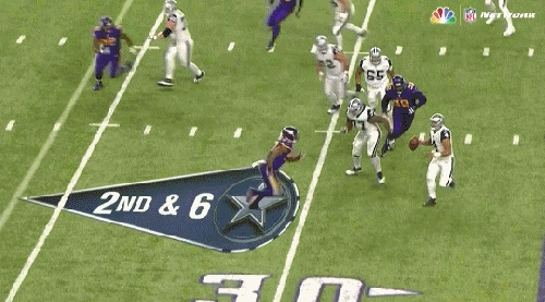 Adrian Peterson managed to catch a pass in a game he isn't playing in, from Dak Prescott