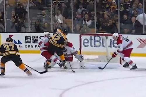 Risky play by Teravainen backfires, ties game for Bruins
