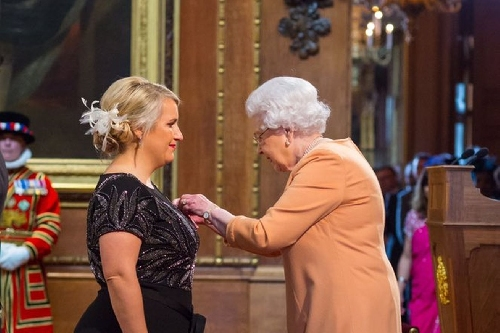 Chelsea Ladies manager Emma Hayes receives her MBE from Her Majesty The Queen