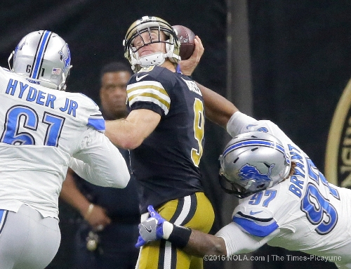 Drew Brees' home touchdown streak stops at 60 games in loss to Lions