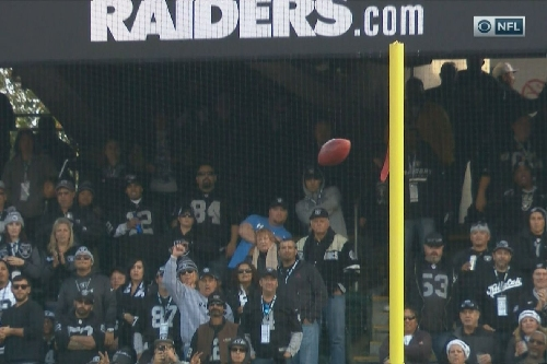 Sebastian Janikowski doinks in an extra point for the Raiders against the Bills
