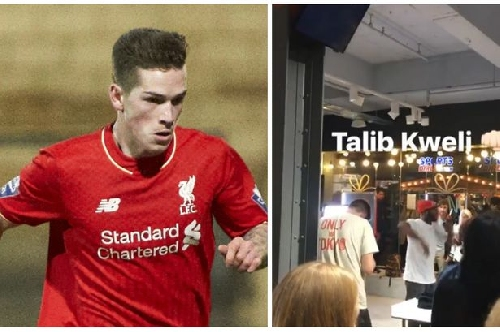 Liverpool youngster Ryan Kent treated to a private performance from rap star Talib Kweli at Size? in Manchester
