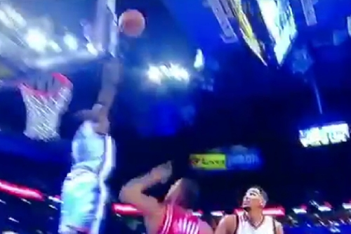 Jerami Grant nearly jumps out of the gym while obliterating a James Harden layup