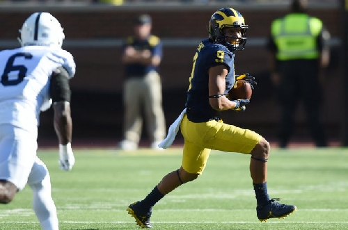 Asked about WR Grant Perry, Jim Harbaugh refers to previous statement
