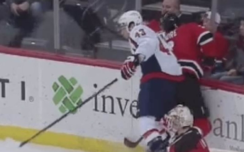 Devils defenseman stretchered off after terrifying hit