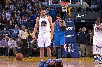 Zaza Pachulia stands over Russell Westbrook after flagrant foul sends him to floor