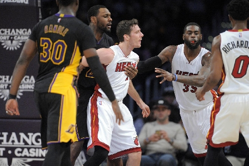 Lakers guard Jordan Clarkson fined $15K for throwing forearm at Heat guard Goran Dragic