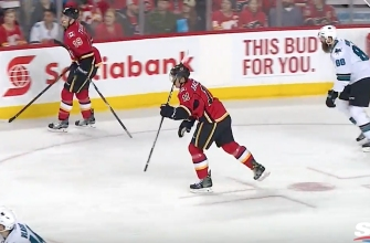 Flames rookie Matthew Tkachuk stole Brent Burns' stick and refused to give it back