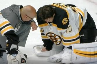 Bruins goalie Tuukka Rask leaves game after taking slapshot to the neck