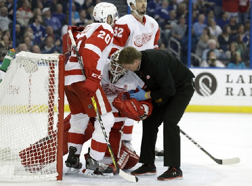 Red Wings' Jimmy Howard skates for first time since spraining right MCL