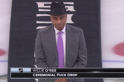 Willie O'Ree, the NHL's 1st black player, dropped the puck in Los Angeles on MLK Day