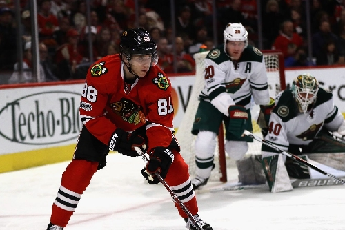 Patrick Kane's 12 shots on goal against the Wild was an NHL rarity