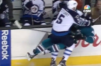 Crazy sequence in Sharks game features massive hit and beautiful goal