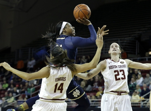 Mabrey, Turner lead No. 6 Notre Dame women past BC 80-69 The Associated Press
