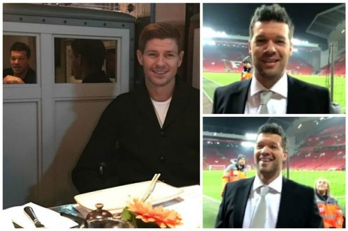 Michael Ballack 'walks alone' at Anfield after enjoying lunch with Liverpool legend Steven Gerrard
