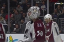 Avalanche rookie goaltender has a good hockey dog on his mask