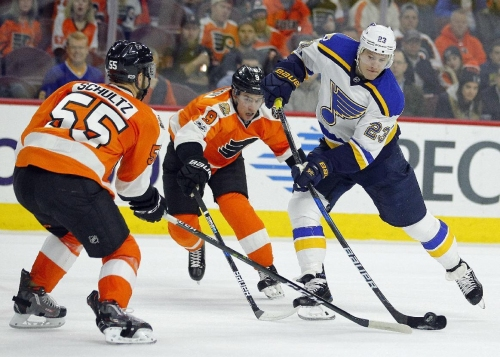 Agostino helps Blues beat Flyers 2-0 The Associated Press