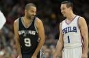 "Bryan Cranston and M. Night Shyamalan ""meet"" Tony Parker during Spurs vs. 76ers"