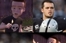 Kelechi Osemele just discovered something brilliant about Derek Carr: He's Sid from Toy Story