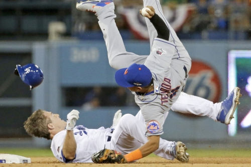 Ruben Tejada is still trying to get up from this takedown