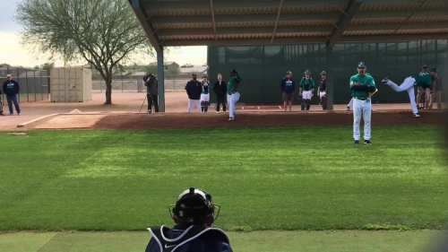 Mariners' prospect Thyago Vieria throws a basesball very hard