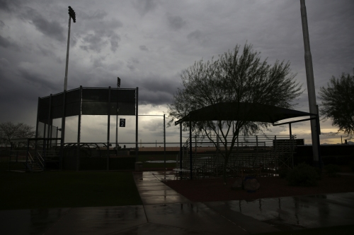 Rare rain in Arizona forces the Mariners to adjust their workouts; Leonys Martin will report late to spring training