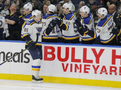 Blues winning streak snapped by 3-2 loss to Sabres