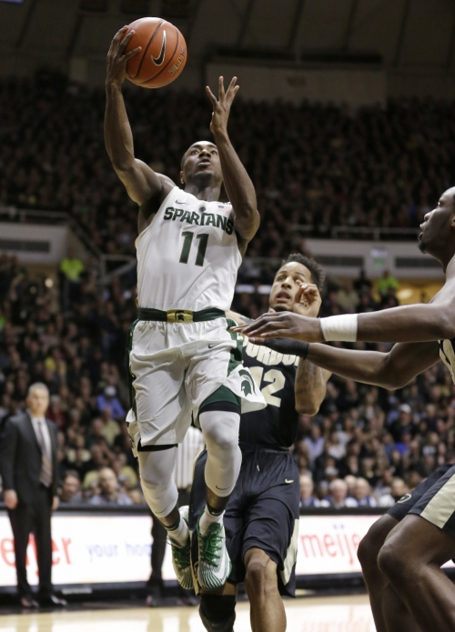 Michigan State falls at No. 16 Purdue as Eron Harris leaves on stretcher with knee injury