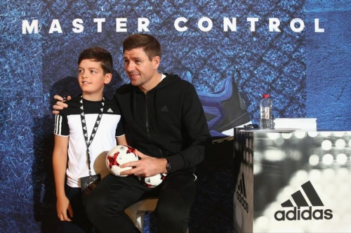 Steven Gerrard greets fans during Dubai promotional visit