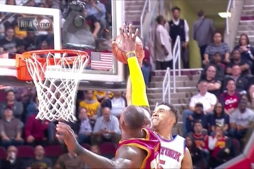 LeBron James channeled his NBA Finals form in getting a chasedown block on Courtney Lee
