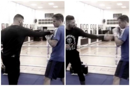 Watch Tony Bellew in the ring with Jamie Carragher preparing for David Haye clash