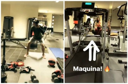 Liverpool star Firmino hits the gym in not-so-serious workout with wife Larissa
